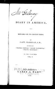 Cover of: A diary in America | Frederick Marryat