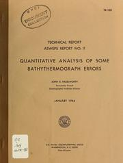Cover of: Quantitative analysis of some bathythermograph errors | John B. Hazelworth