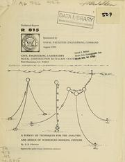 Cover of: A survey of techniques for the analysis and design of submerged mooring systems. -- by N. D. Albertsen