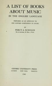 Cover of: A list of books about music in the English language | Scholes, Percy Alfred