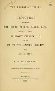 Cover of: The pastor's jubilee | Brown Emerson