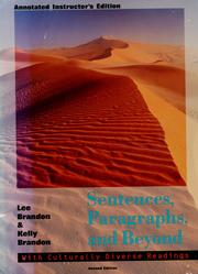 Cover of: Sentences, paragraphs, and beyond | Lee E. Brandon