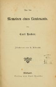 Cover of: Aus den Memoiren eines  Lieutenants | Carl Hecker