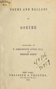 Cover of: Poems and ballads by Johann Wolfgang von Goethe