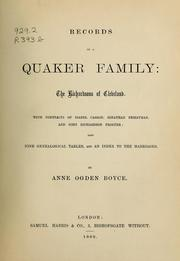 Cover of: Records of a Quaker family by Anne Ogden Boyce