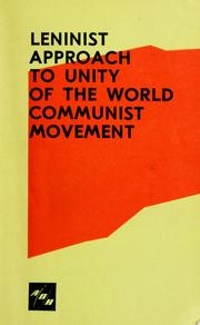 Cover of: Leninist approach to unity of the world communist movement | I︠U︡. P. Frant︠s︡ev