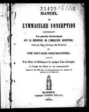 Cover of: Manuel de l'Immaculée Conception by Ignace Bourget
