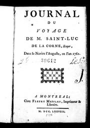 Cover of: Journal du voyage de M. Saint-Luc de La Corne, ecuyer by Saint-Luc de La Corne