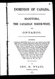 Cover of: Manitoba, the Canadian north-west, and Ontario by George H. Wyatt
