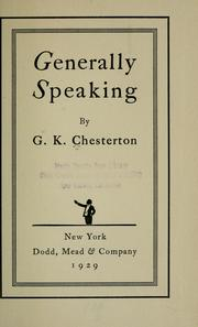 Cover of: Generally speaking by G. K. Chesterton