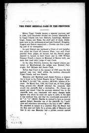 Cover of: The first medical case in the province | William Renwick Riddell