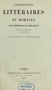 Cover of: Conservations littéraires et morales | Hippolyte Rigault
