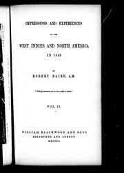 Cover of: Impressions and experiences of the West Indies and North America in 1849 by Baird, Robert