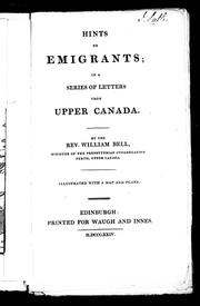 Cover of: Hints to emigrants | William Bell