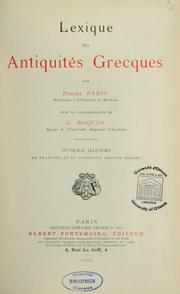 Cover of: Lexique des antiquités grecques | Pierre Paris
