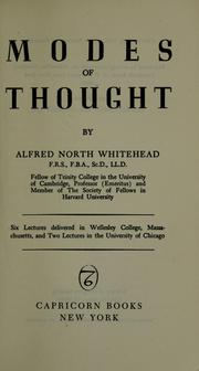 Cover of: Modes of thought | Alfred North Whitehead
