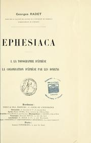 Cover of: Ephesiaca | Georges Albert Radet