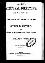 Cover of: Mackay's Montreal directory for 1866-67 by Lovell, John