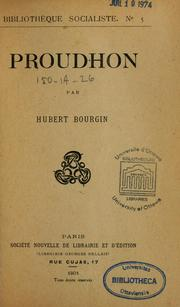 Cover of: Proudhon | Hubert Bourgin