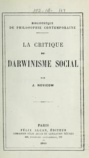 Cover of: La critique du Darwinisme social | Jacques Novicow