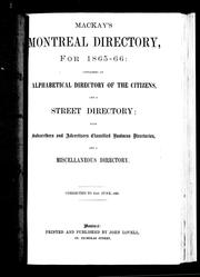 Cover of: Mackay's Montreal directory, for 1865-66 | Lovell, John