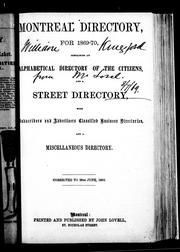 Cover of: Montreal directory for 1869-70 |