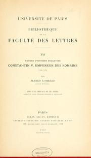 Cover of: Études d'histoire byzantine | Alfred Lombard