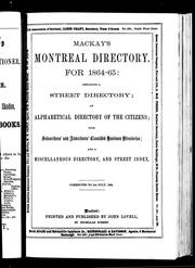 Cover of: Mackay's Montreal directory for 1864-65 by Lovell, John