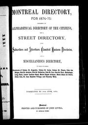 Cover of: Montreal directory for 1871-72 |