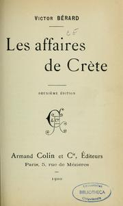 Cover of: Les affaires de Crète | Victor Bérard