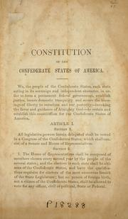 Cover of: Constitution of the Confederate States of America | Confederate States of America
