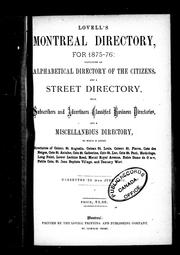 Cover of: Lovell's Montreal directory for 1875-76 |