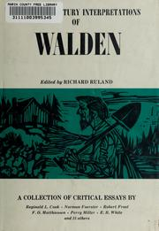 Cover of: Twentieth century interpretations of Walden | Ruland, Richard