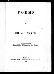Cover of: Poems | Haynes, J.