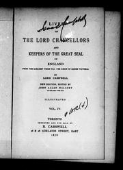 Cover of: Lives of the lord chancellors and keepers of the great seal of England | John Lord Campbell