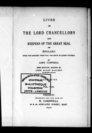 Cover of: Lives of the lord chancellors and keepers of the great seal of England by Campbell