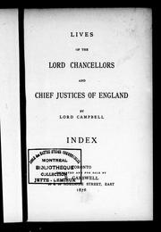 Cover of: Lives of the lord chancellors and chief justices of England by Campbell