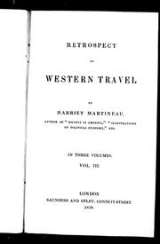 Cover of: Retrospect of western travel | Martineau, Harriet