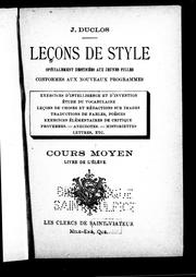 Cover of: Leçons de style | E. Robert