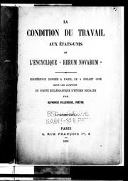 "Cover of: La condition du travail aux Etats-Unis et l'encyclique ""Rerum novarum"" by Alphonse Villeneuve"