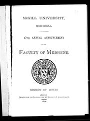 Cover of: 47th annual announcement of the Faculty of Medicine | McGill University. Faculty of Medicine.
