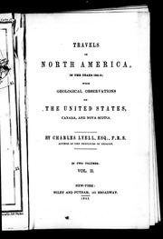 Cover of: Travels in North America, in the years 1841-2 by Charles Lyell