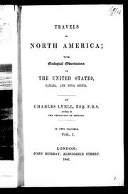 Cover of: Travels in North America | Charles Lyell