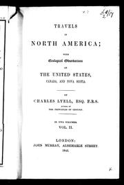 Cover of: Travels in North America by Charles Lyell