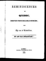 Cover of: Reminiscences of Quebec | Old inhabitant