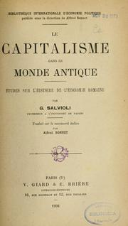 Cover of: Le capitalisme dans le monde antique | Giuseppe Salvioli