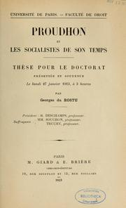 Cover of: Proudhon et les socialistes de son temps by Georges du Rostu