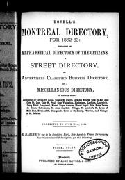Cover of: Lovell's Montreal directory for 1882-83 |