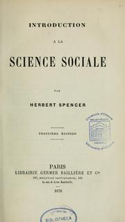 Cover of: Introduction à la science sociale \ by Herbert Spencer