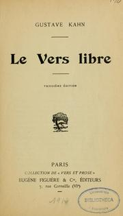 Cover of: Le vers libre | Gustave Kahn